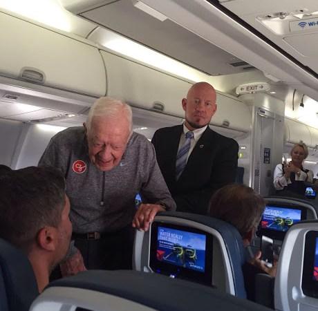 jimmy-carter-with-narayana-on-flight