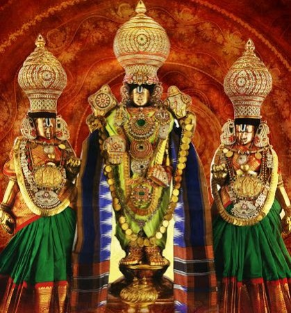 Lord Venkateswara With His Divine Consorts