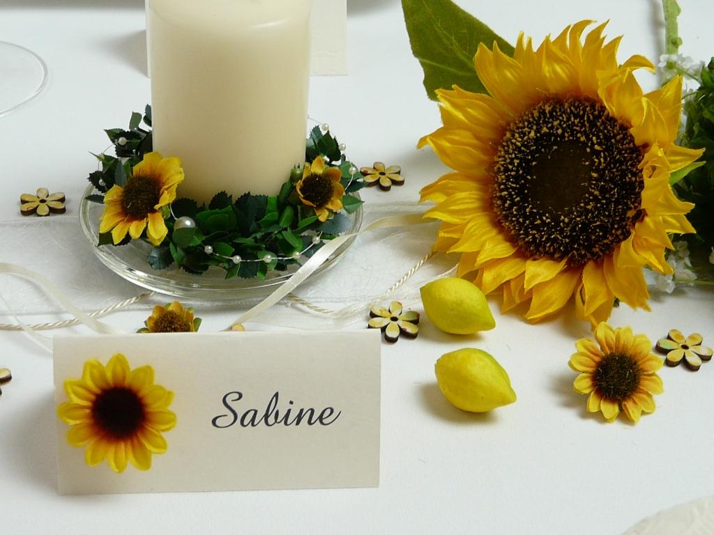 Schne Sonnenblume fr die Tischdeko