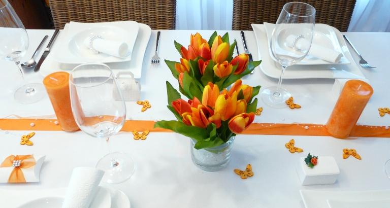 Blumen Tulpen Blumenstrau orange Tischdekoonlinede