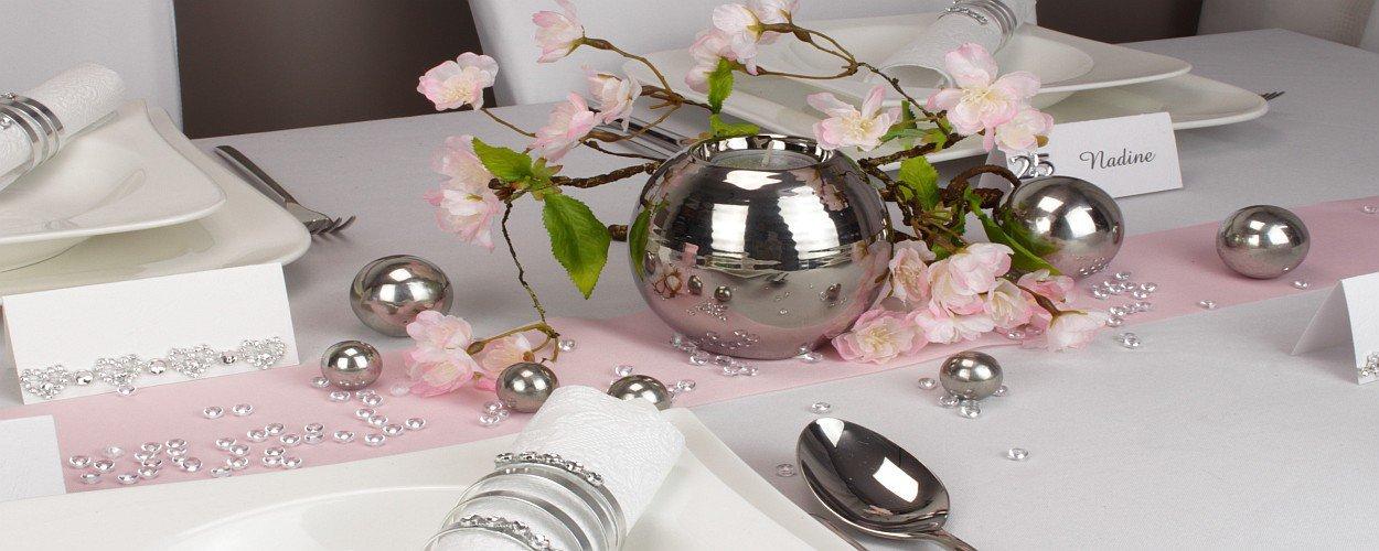 Hochzeitsdeko Rosa Silber