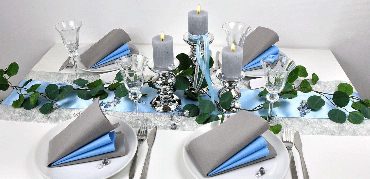 Tischdeko Turkis Silber