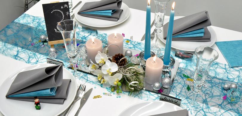 Tischdekoration in Trkis  Silber kaufen  TischdekoShop