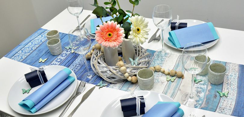 Tischdeko Vintage Blau