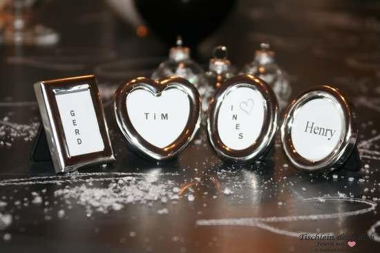 Tischkarten Herz oval rechteckig und rund für Hochzeit, Konfirmation oder Kommunion