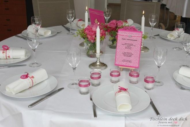 Tischdekoration Kommunion rosa pink