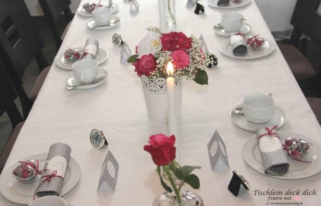 Tischdekoration pink weiß grau