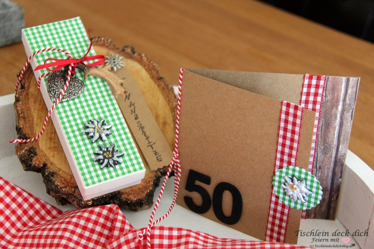 Geldgeschenk zum 50. Geburtstag im Trachtenlook