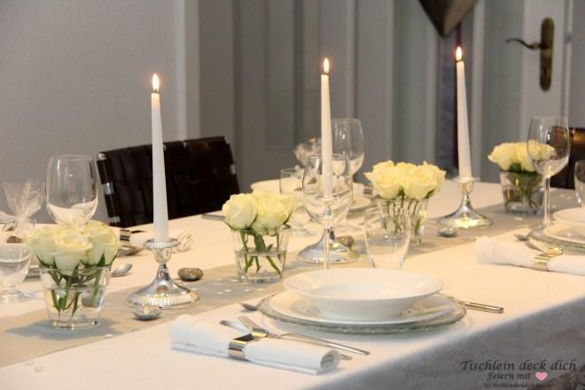 Silberhochzeit Dinnertafel