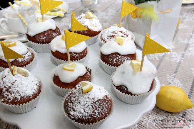 Zitronenfest Tischdekoration und Zitronenmuffins