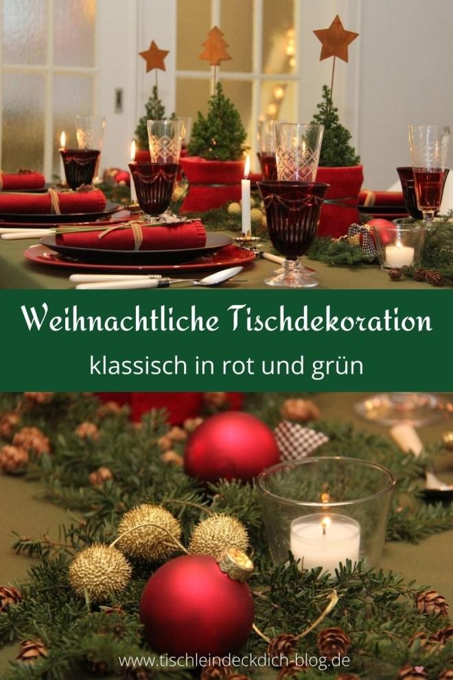 Weihnachtliche Tischdeko in rot grün