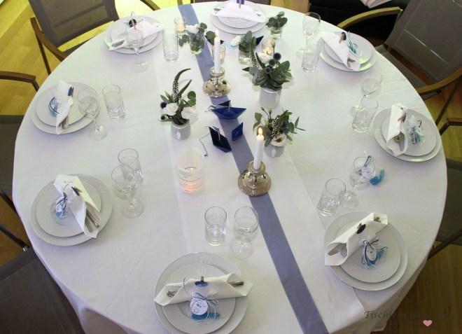 Kommunionsfeier Tischdeko blau