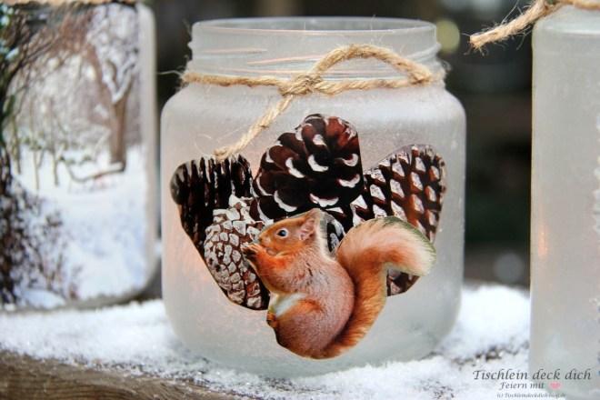 Marmeladengläser winterlich dekoriert