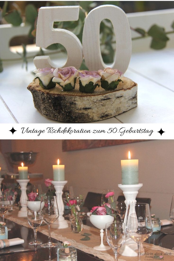 Vintage Tischdekoration zum 7. Geburtstag - Tischlein deck dich