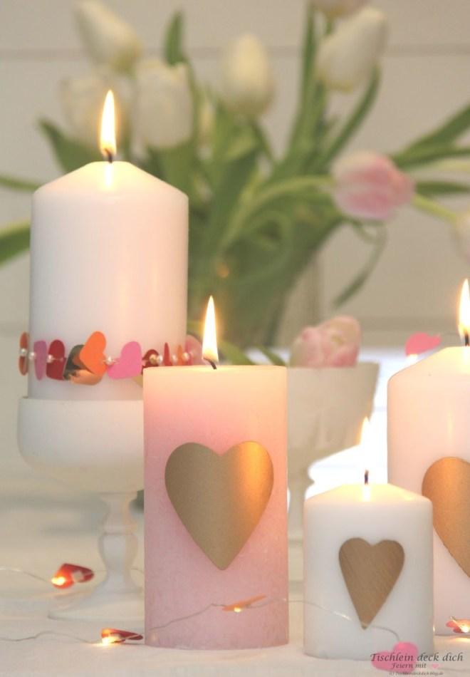Romantische Kerzendekoration selber machen