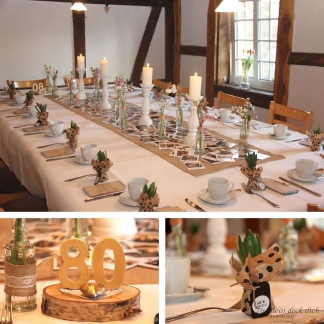 Sendmoments-Tischdekoration zum 80. Geburtstag