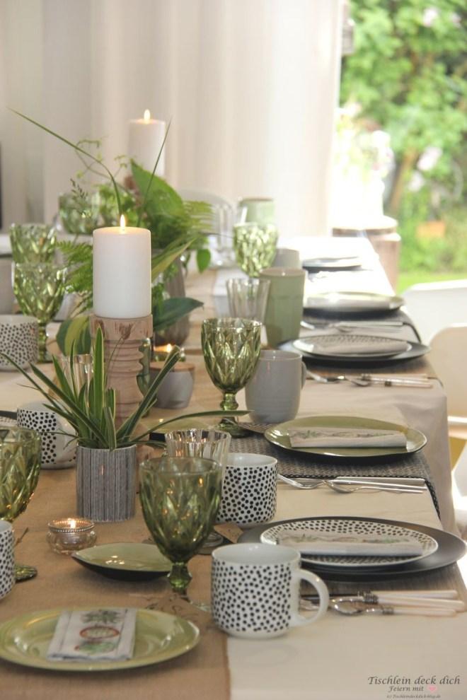 Geburtstagsfrühstück mit meinen Freundinnen, Tischdeko im Botanical Style