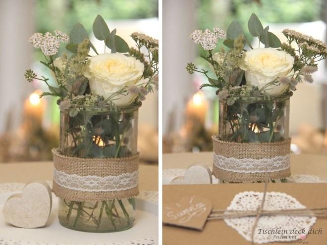 Blumendekoration im Vintagelook zur Hochzeit