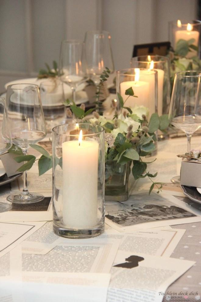 Tischdekoration im Vintagestyle zur Hochzeit