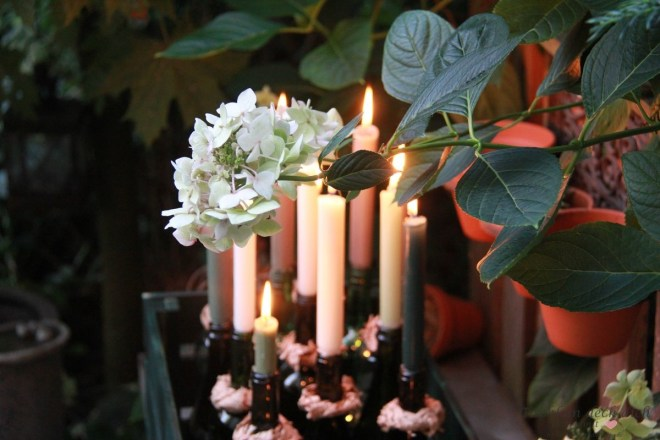 Romantische Gartenimpression mit Hortensie