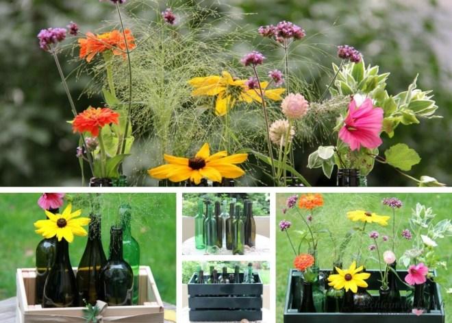 Weinflaschen Upcycling für Wiesenblumen