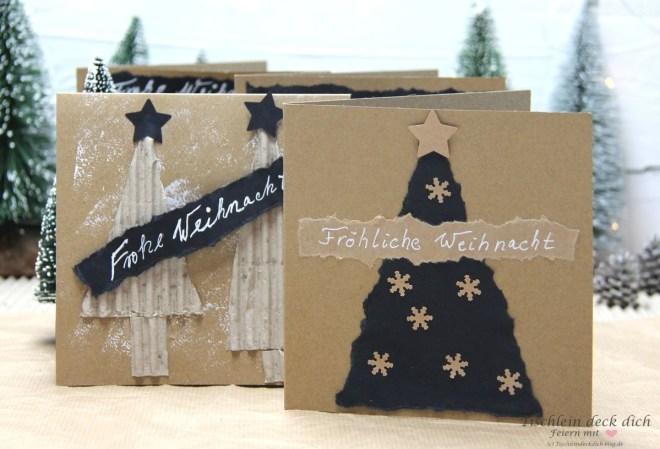 weihnachtliche Grußkarten basteln