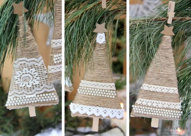 Weihnachtlicher Baumschmuck aus Jutekordel und Pappkarton