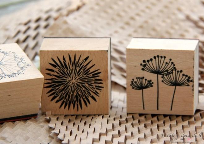 Blumenstempel und Verpackungsmaterial Upcycling