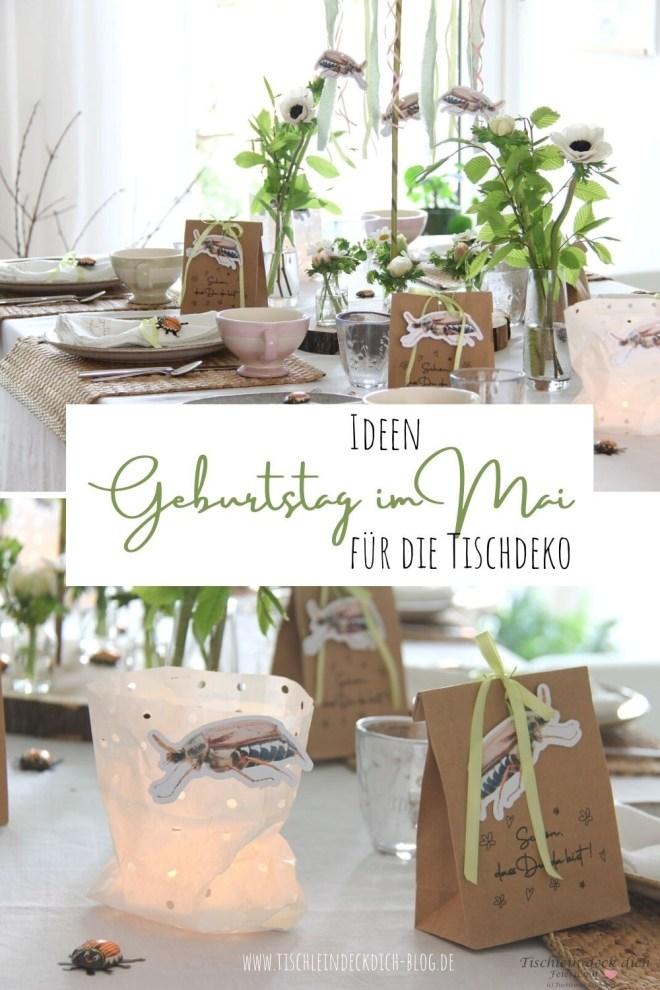 Tischdekoration für einen Geburtstag im Mai für Pinterest