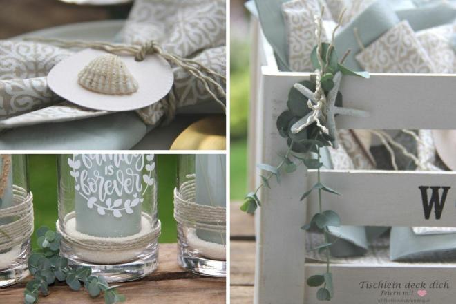 Kerzendeko in salbeigrün mit Trockenblumen