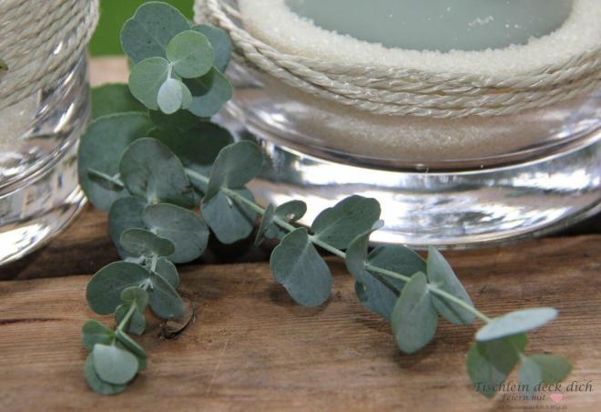 Zucker statt Granulat für die Kerzendeko im Glas
