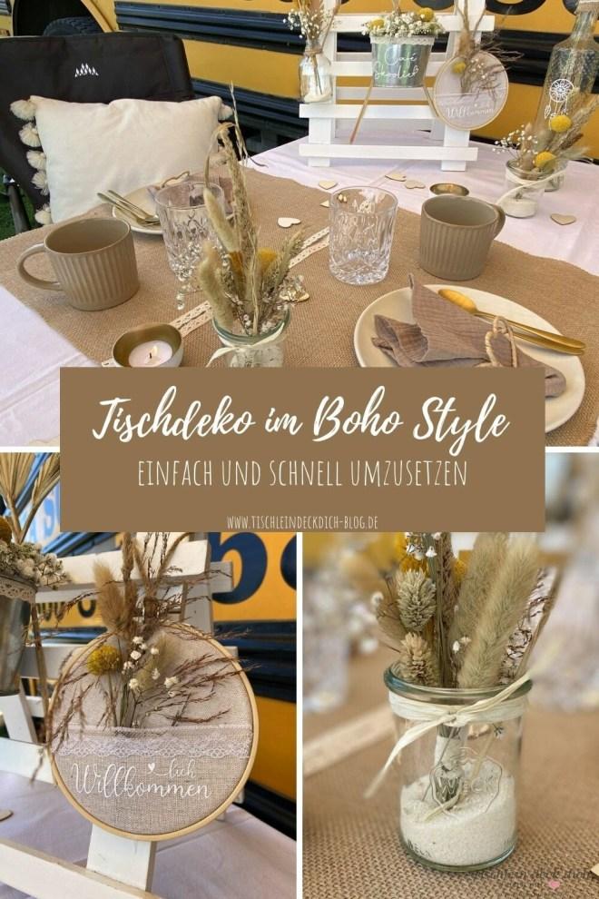Tischdekoration im Boho Style Pinterest Pin