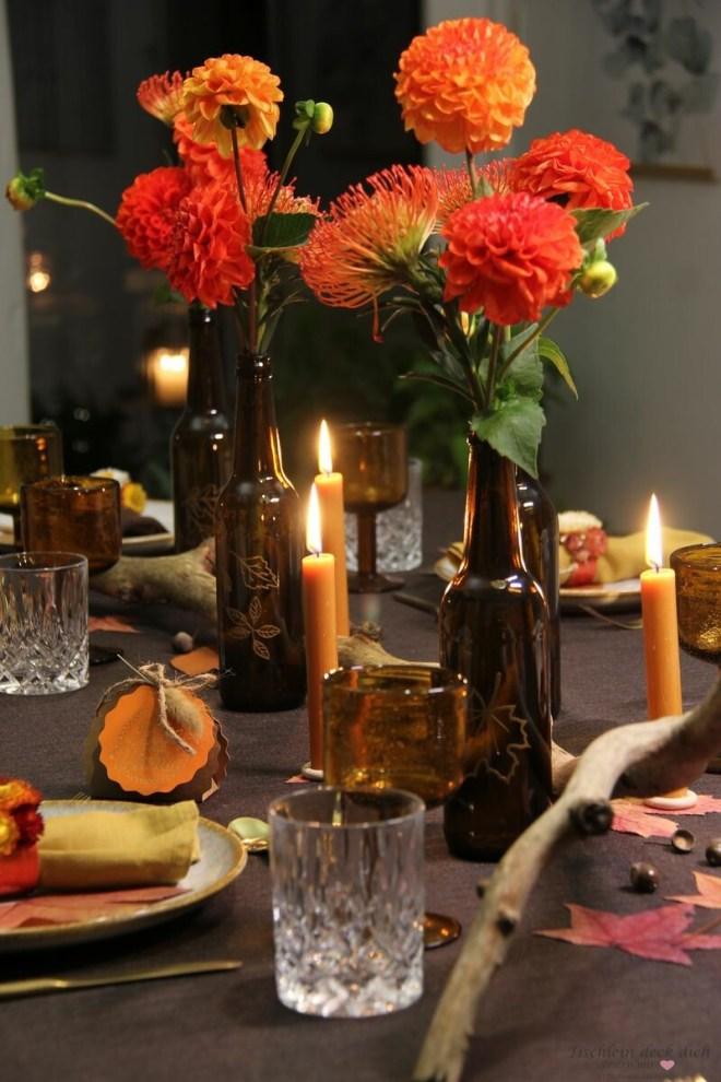 Tischdekoration für den Herbst