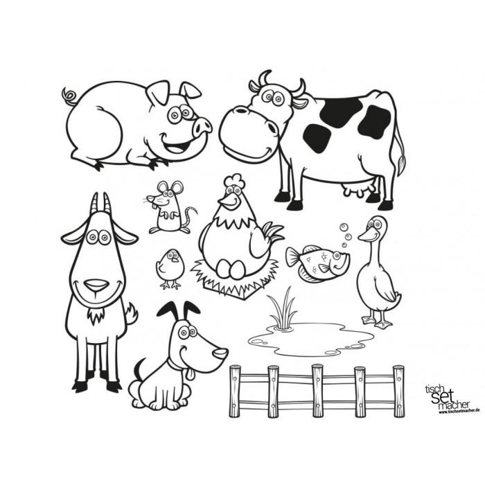 """Tischsets Platzsets - Malvorlagen """"Bauernhoftiere"""" aus"""
