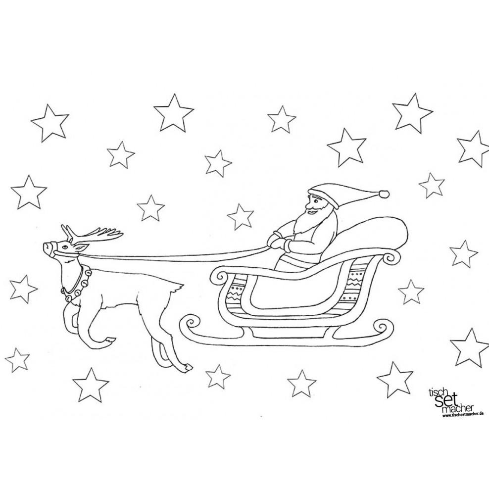 Malvorlage Weihnachtsmann Schlitten
