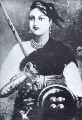 La Rani de Jansi en tenue de cavalière