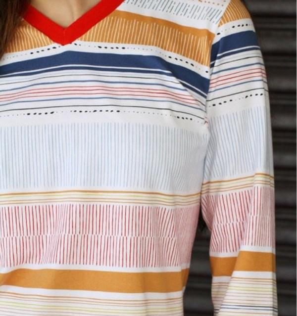 Tissu Jersey En Coton Art Rayures Pour Coudre
