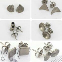 A: Titanium oorbellen Grijs
