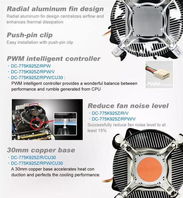Intel LGA 775 CPU Air Cooler with 95mm Fan and Aluminum