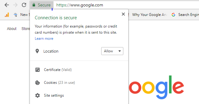 Screenshots of how Google presents the 'Secure' and 'Not secure' label.