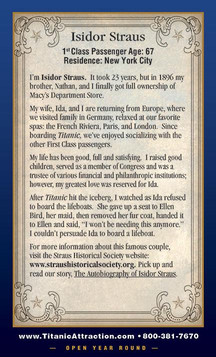 Titanic First Class  Isidor Straus  Titanic Pigeon Forge