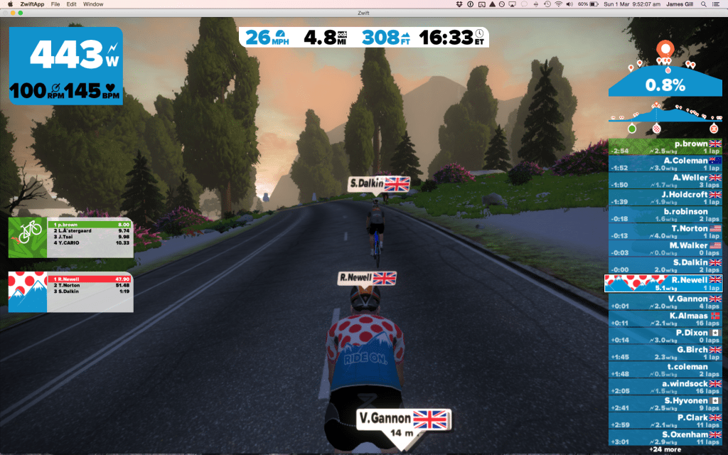 TitaniumGeek Screen-Shot-2015-03-01-at-09.52.07-1024x640 Zwift review - The latest twist on indoor training Zwift Wahoo Turbo Trainer Strava Segments Mac Laptop KICKR Gear cycling ANT+