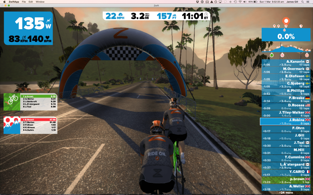 TitaniumGeek Screen-Shot-2015-03-01-at-09.52.33-1024x640 Zwift review - The latest twist on indoor training Zwift Wahoo Turbo Trainer Strava Segments Mac Laptop KICKR Gear cycling ANT+
