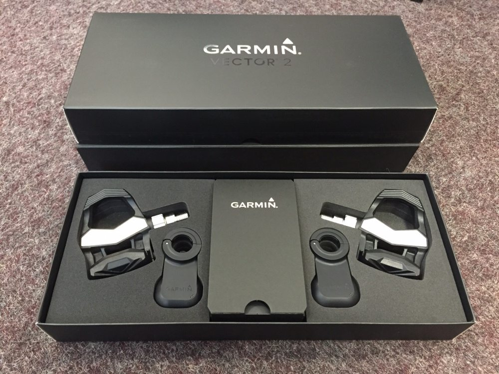 TitaniumGeek Box Garmin Vector 2 review   Pedal Based Power Meter Cycling Gear Reviews Power Meters  Vector Stages power meter pedals garmin cycling dynamics cycling   Image of Box