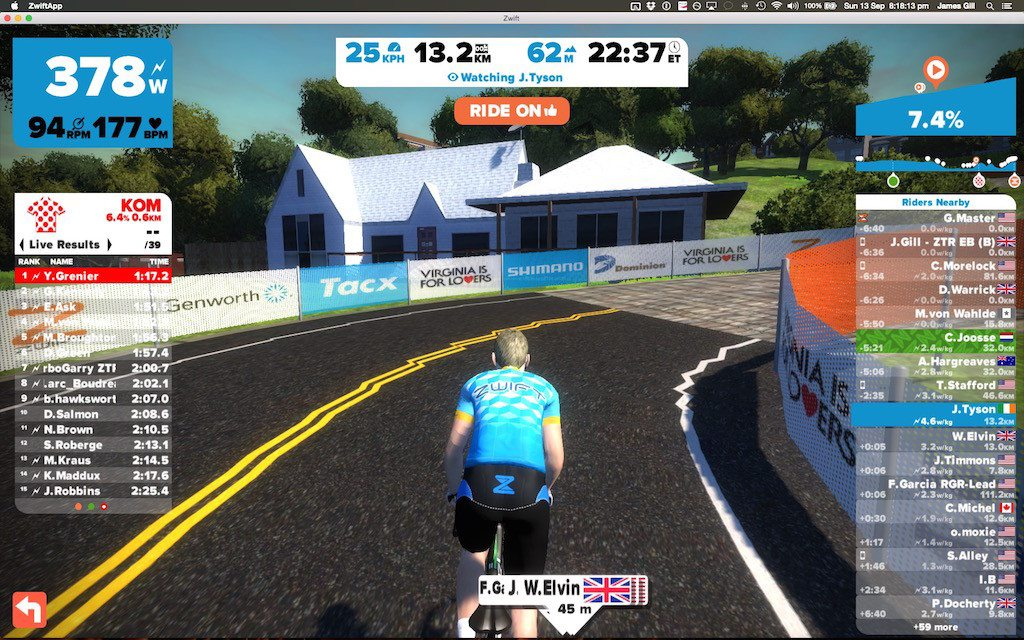TitaniumGeek Screen Shot 2015 09 13 at 20.18.13 1024x640 Zwift Richmond 2015 Road World Championship Course   A Riders Guide Cycling Zwift    Image of Screen Shot 2015 09 13 at 20.18.13 1024x640