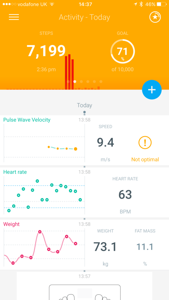 TitaniumGeek IMG 6797 576x1024 Withings Body Cardio WiFi Scale Review Gear Reviews Heart Rate Monitors Scales  Withings Body Cardio withings water scales PWV Pulse Wave Velocity heart rate heart disease health fat mass Cardiac bone mass body atherosclerosis   Image of IMG 6797 576x1024