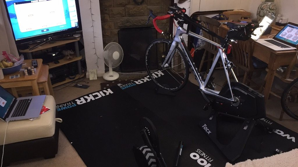 TitaniumGeek IMG 6576 1024x576 Which Turbo Trainer Mat is Best for Zwift? Zwift Gear Tests Cycling Gear Reviews Zwift  zwift cave Zwift Wahoo Turbo Trainer turbo mats Tacx mats elite Cycleops   Image of IMG 6576 1024x576