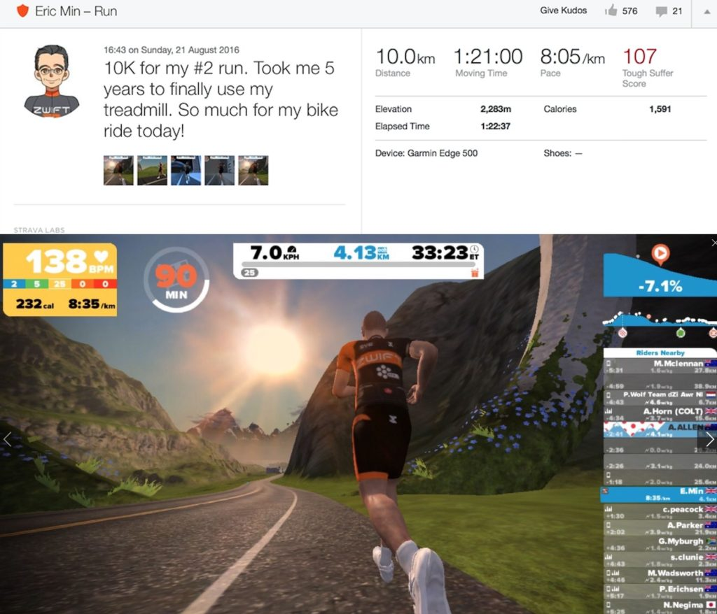 TitaniumGeek Screen Shot 2016 12 06 at 21.27.55 1024x878 Zwift Running iOS Review   Your treadmill just got upgraded!   TitaniumGeek Gear Reviews Running Zwift  zwift running Zwift iOS Zwift treadmill running iphone ios footpod foot pod cadence bluetooth   Image of Screen Shot 2016 12 06 at 21.27.55 1024x878