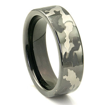Black Tungsten Carbide 7mm MILITARY CAMOUFLAGE Wedding Ring