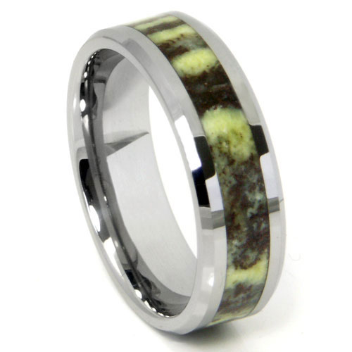 Tungsten Carbide Green Riverstone Inlay Wedding Band Ring
